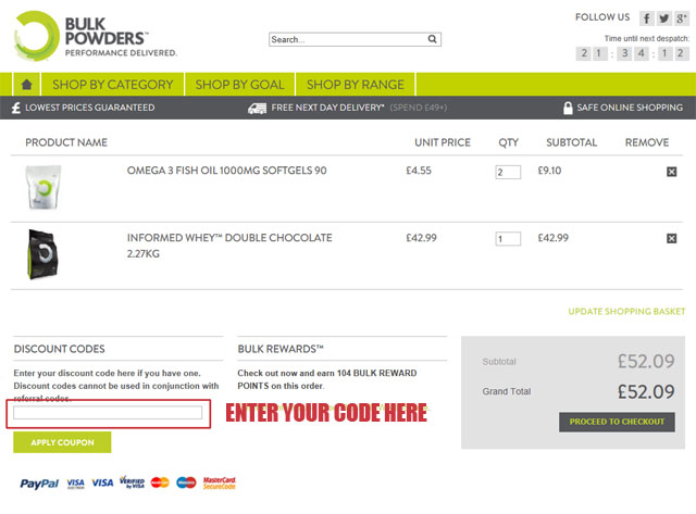 BULK POWDERS™ discount codes are not case sensitive. Please make sure you've logged into your account for a discount code to work. Q. Can I combine multiple discount codes? A. In the majority of cases, discount codes are stand-alone. The ability to add multiple codes is therefore restricted. The addition of an additional code will invariably.