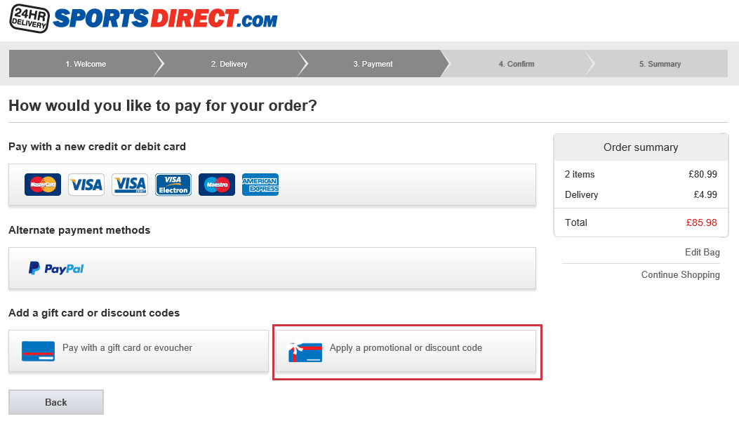 Sports Direct discount codes and vouchers for November Get a Sports Direct discount code and save on your next purchase. Sports Direct. Free £5 voucher! Select the Click & Collect delivery option for your order and when you go into store to pick it up you will receive a free £5 voucher! T&Cs apply.